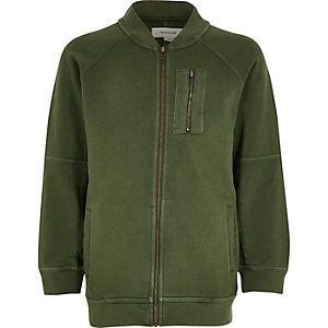 Boys khaki green soft bomber jacket