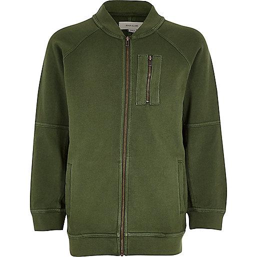 Boys khaki green soft bomber jacket