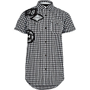 Boys black gingham badge short sleeve shirt