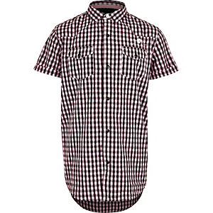 Boys black gingham pink overdye shirt
