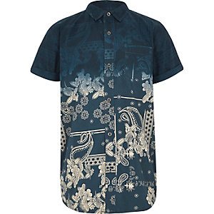 Boys navy bandana fade short sleeve shirt