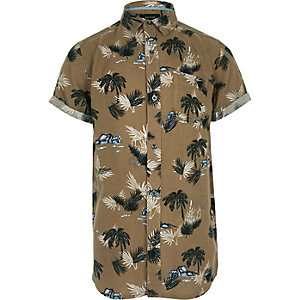 Boys brown palm print short sleeve shirt