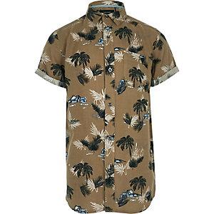 Bruin overhemd met korte mouwen en palmboomprint voor jongens