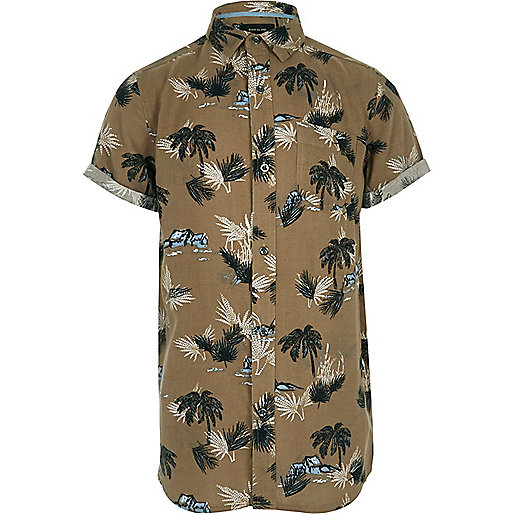 Boys brown palm print short sleeve shirt
