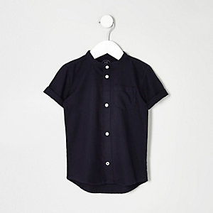 Mini boys navy grandad Oxford shirt