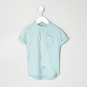 Mini boys turquoise grandad Oxford shirt