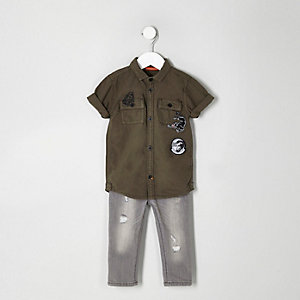 Mini boys khaki badged shirt and jeans outfit