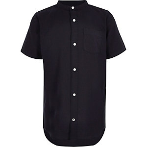 Boys navy grandad short sleeve Oxford shirt