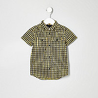 Mini boys yellow gingham short sleeve shirt