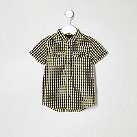 Mini boys yellow gingham short sleeve shirt