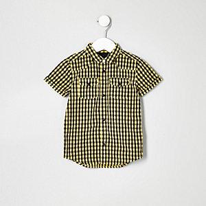 Gelbes Kurzarmhemd mit Karos