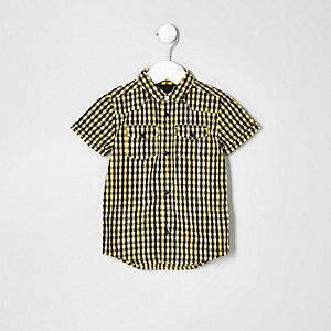 Chemise à carreaux vichy jaune avec manches courtes pour mini garçon