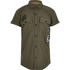Boys khaki green graffiti print Oxford shirt