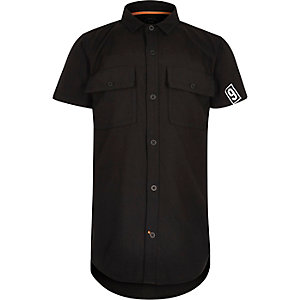 Black badge sleeve Oxford short sleeve shirt