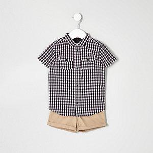 Ensemble short et chemise rose mini garçon