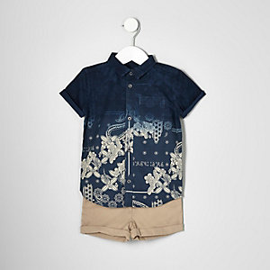 Mini boys navy shirt and chino shorts set