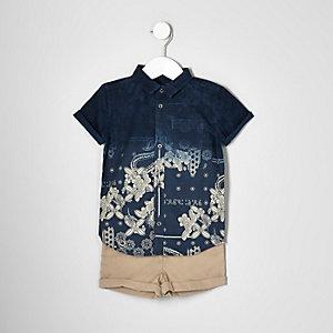 Ensemble short chino et chemise bleu marine mini garçon