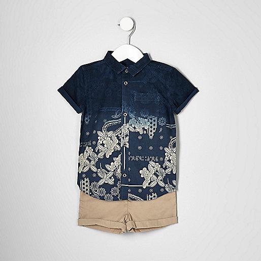 Mini boys navy shirt and chino shorts set