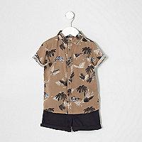 Ensemble short et chemise imprimé palmiers marron pour mini garçon