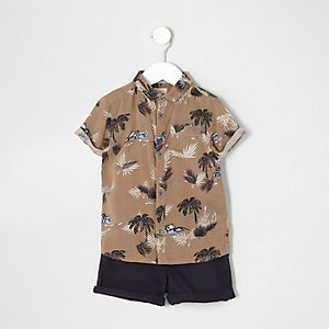 Mini boys brown palm shirt and shorts outfit