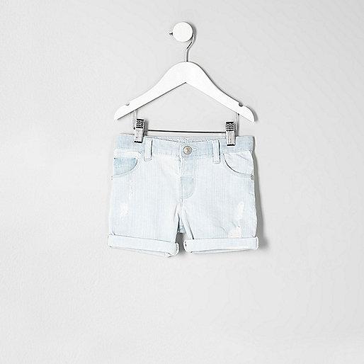 Mini boys light blue denim shorts