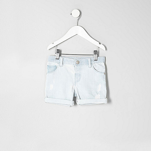 Mini boys light blue denim shorts