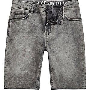 Boys grey acid wash slim fit Dylan shorts