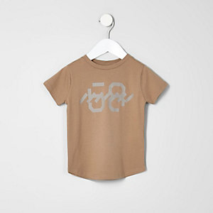 Mini - kiezelkleurig T-shirt met print voor jongens