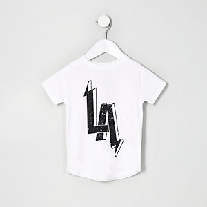 Mini boys white LA print T-shirt