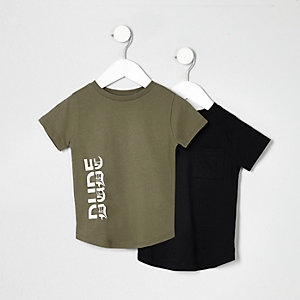 Mini boys khaki and black T-shirt multipack