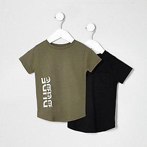 Mini - multipack kaki en zwart T-shirt voor jongens