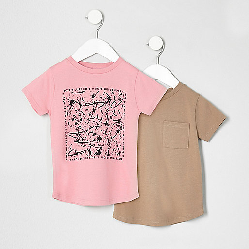 Mini boys pink and beige T-shirt multipack