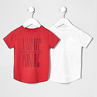 Mini boys red and white T-shirt multipack
