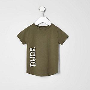 Mini - kaki T-shirt met dude-print voor jongens