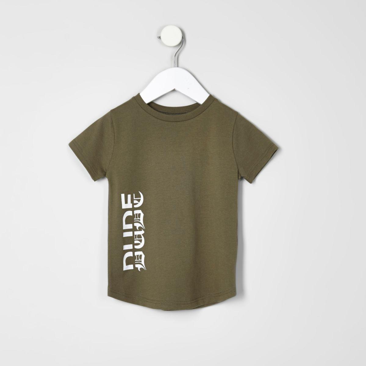 Mini boys khaki dude print T-shirt