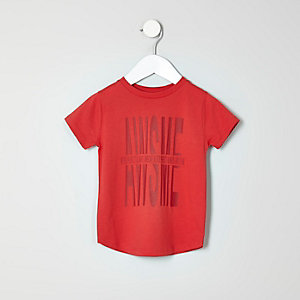 Mini boys red awesome print T-shirt