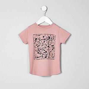 T-shirt imprimé abstrait rose mini garçon