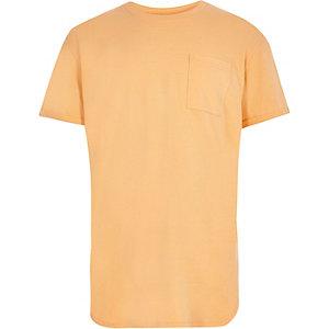T-shirt orange à ourlet arrondi pour garçon