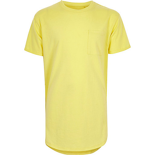 Boys yellow curved hem T-shirt