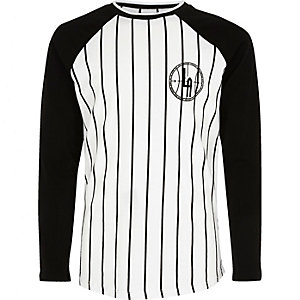 Boys white stripe baseball T-shirt