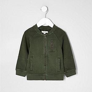 Mini boys khaki green soft bomber jacket