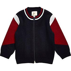 Mini boys navy blue knit zip through jacket