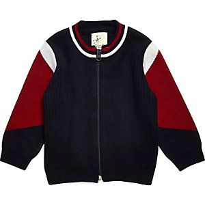 Mini boys navy blue knit zip through jacket