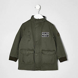 Boys khaki green pocket badge parka