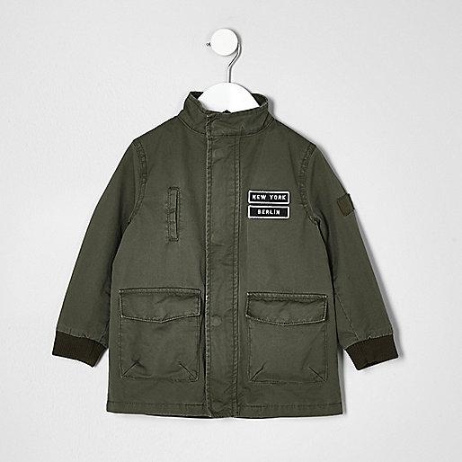 Boys khaki green pocket badge parka