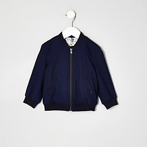 Mini boys blue smart textured bomber jacket