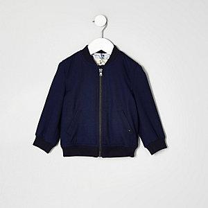 Blouson bleu texturé habillé mini garçon