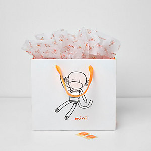 Mini boys white Mini monkey gift bag