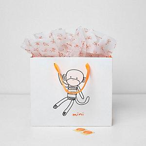 Sac cadeau blanc motif petit singe mini garçon