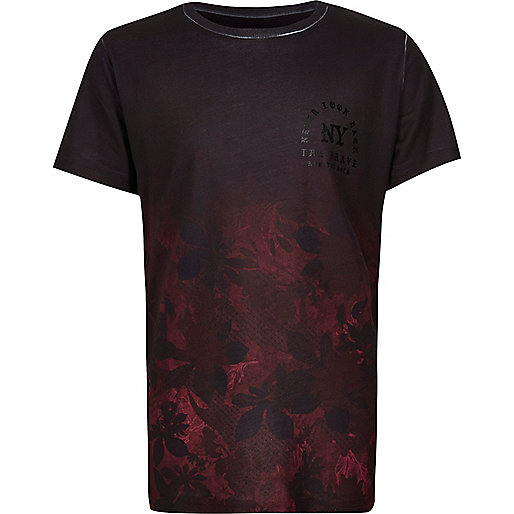 Boys black rose print T-shirt